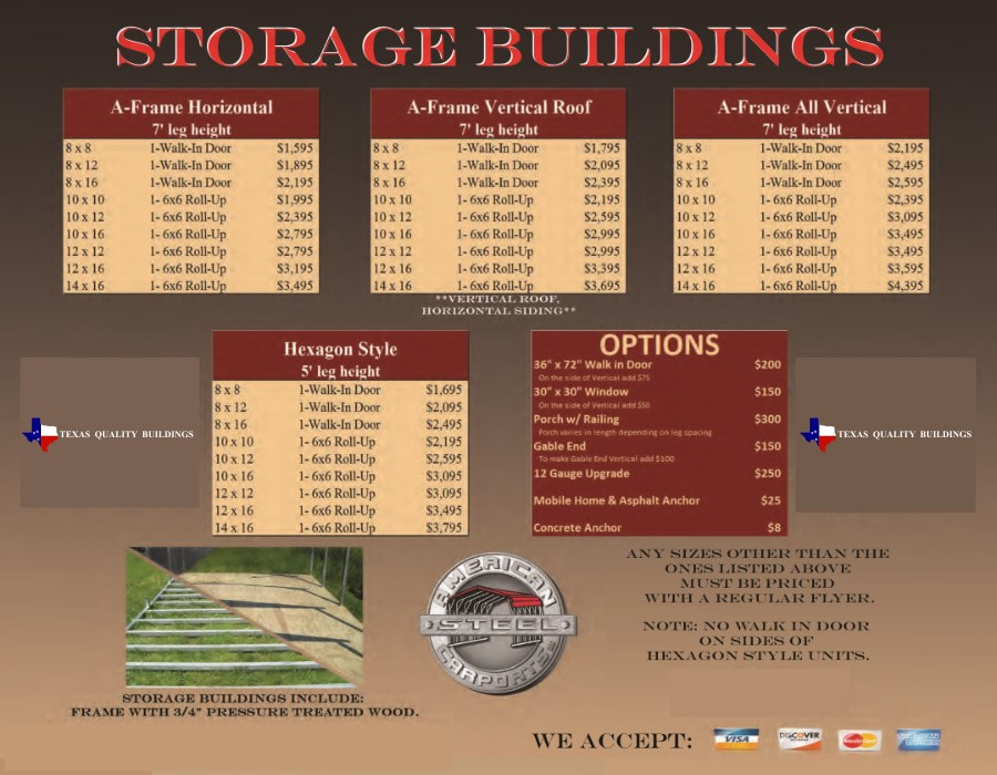 Storage Buildings options and pricing | texasqualitybuildings.com