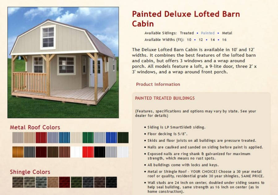 Painted Lofted Barn Cabins Texas Quality Buildings
