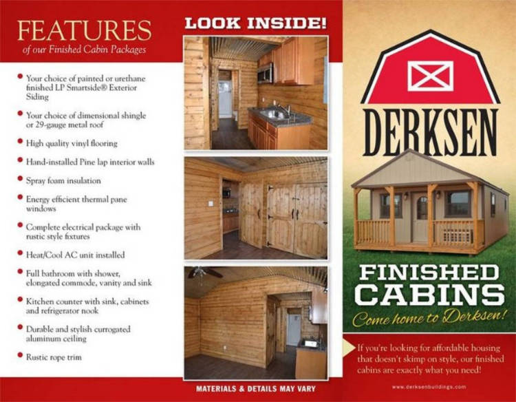Derksen finished portable buildings texas quality buildings for Cabin builder texas