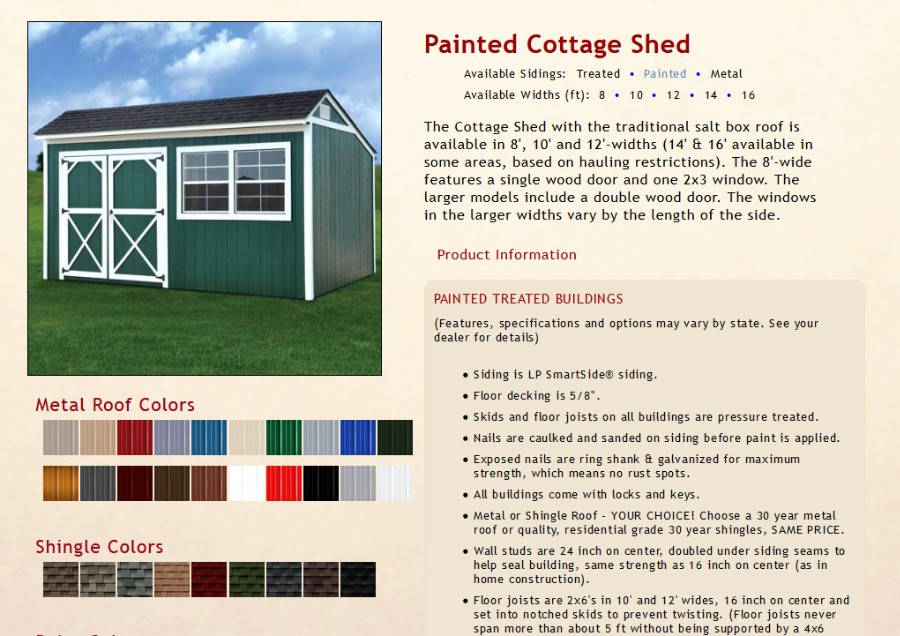 Painted Cottage Shed Information | texasqualitybuildings.com