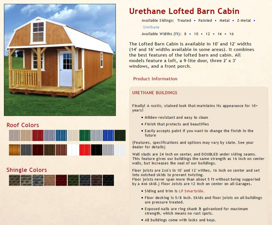 Urethane Lofted Barn Cabins Texas Quality Buildings