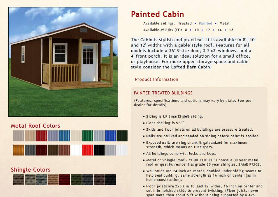 Painted Cabins Information | texasqualitybuildings.com