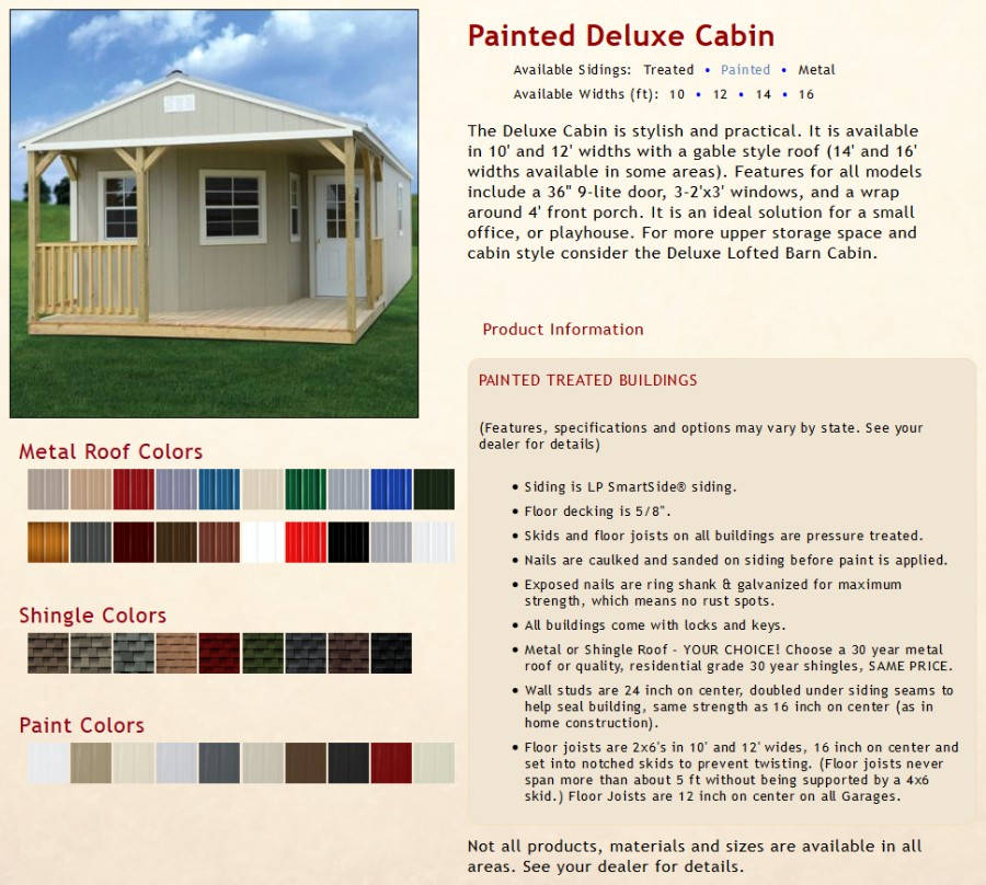 Painted Deluxe Cabin Information | texasqualitybuildings.com