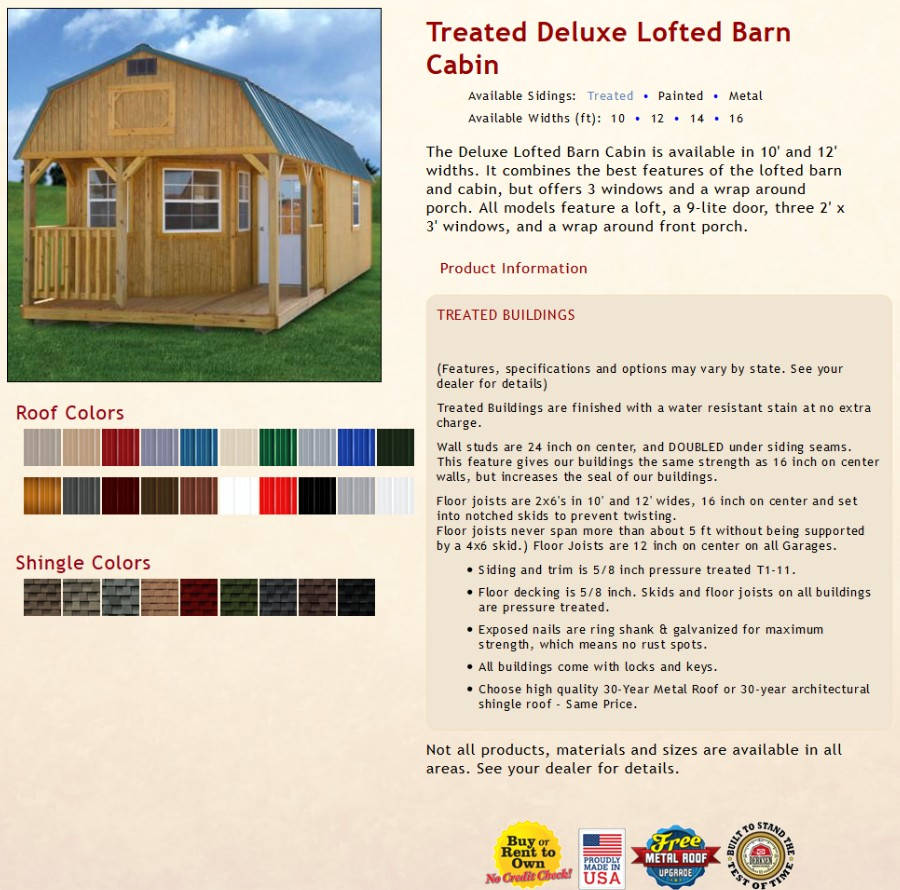 Treated Deluxe Lofted Barn Cabin Information | texasqualitybuildings.com
