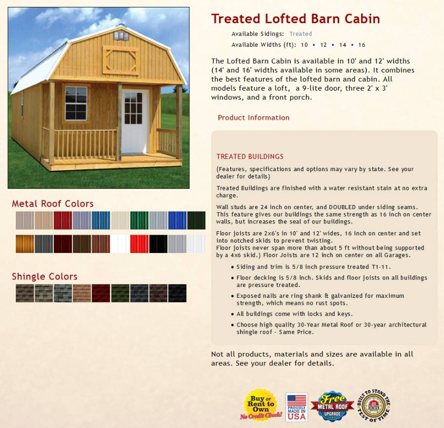 Treated Lofted Barn Cabin Information | texasqualitybuildings.com