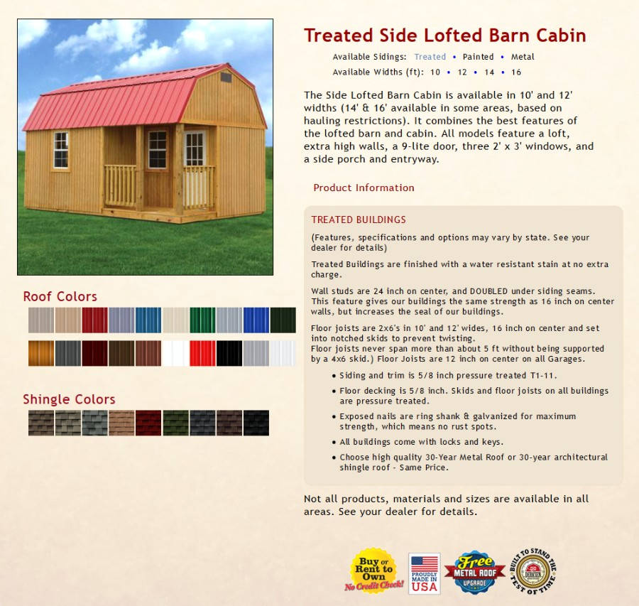 Treated Side Lofted Barn Cabin Information | texasqualitybuildings.com