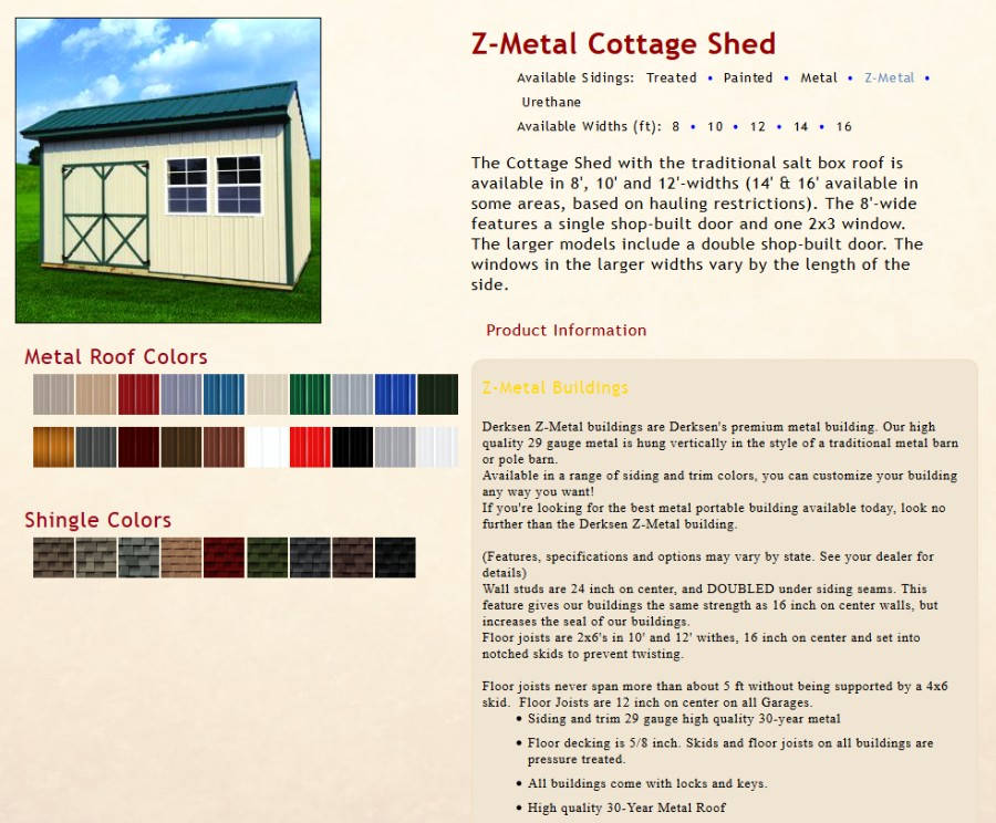 Z-Metal Cottage Shed Information | texasqualitybuildings.com